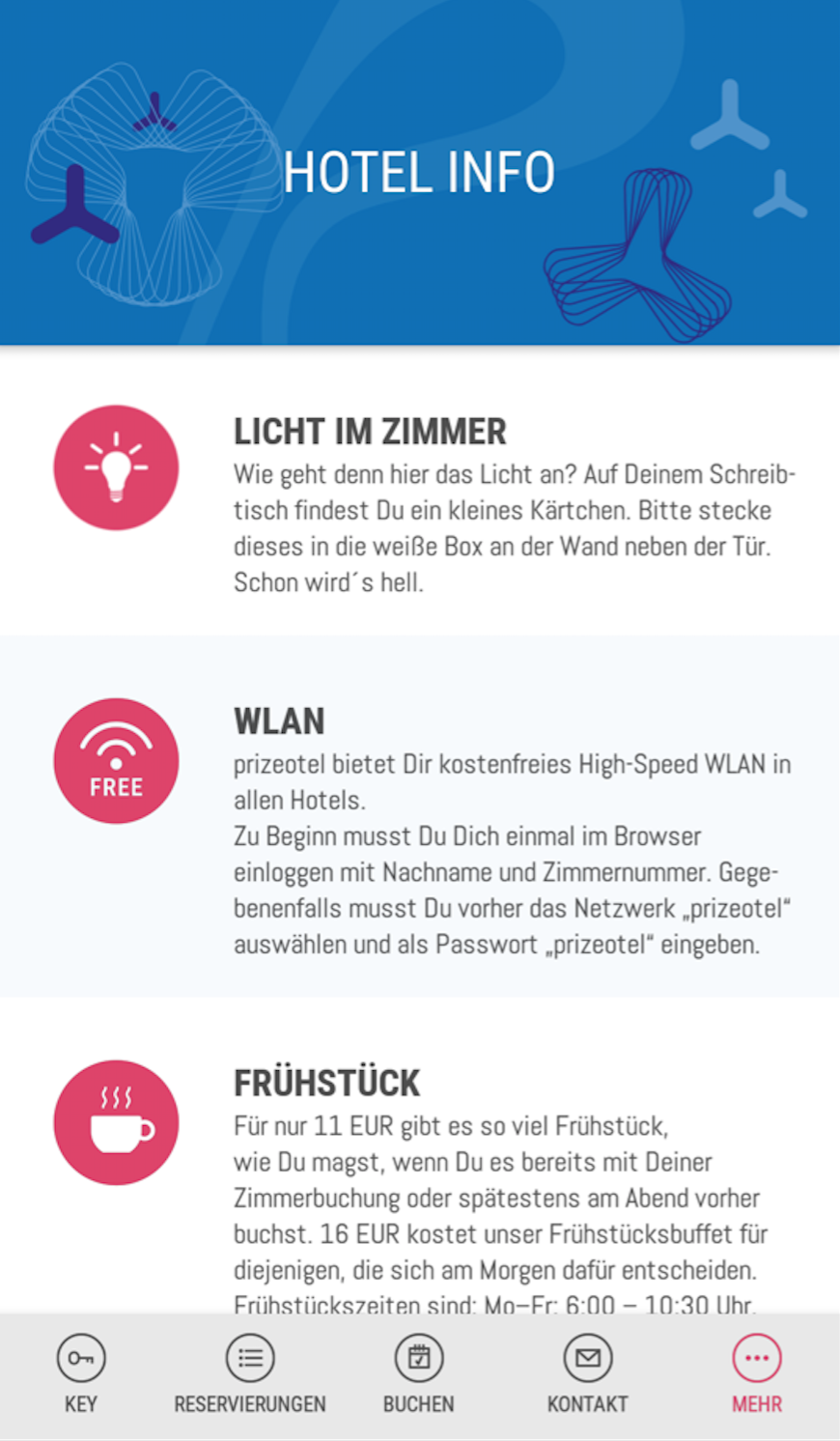 mobile Check In mit der prizeotel App