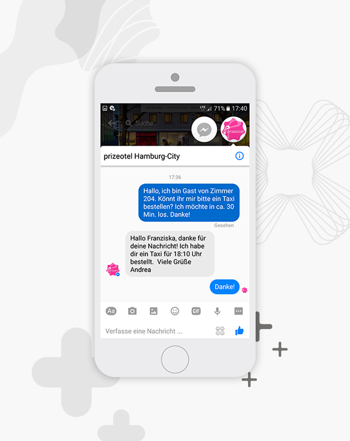 chat with prizeotel on facebook messenger